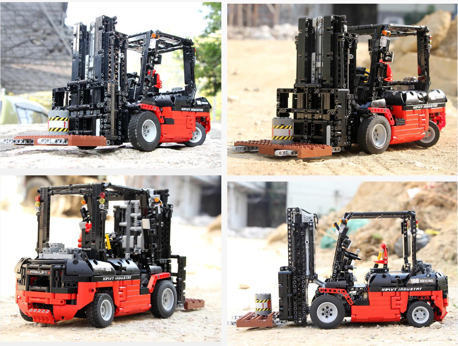 Mould King 13106 Technik Bausteine Gabelstapler Fernbedienung mit Power Function